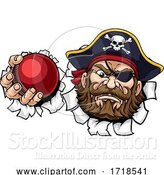 Vector Illustration of Pirate Cricket Ball Sports Mascot by AtStockIllustration