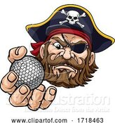 Vector Illustration of Pirate Golf Ball Sports Mascot by AtStockIllustration