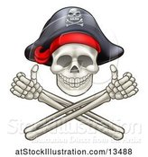 Vector Illustration of Pirate Skull and Cross Bones Jolly Roger, with Thumbs up by AtStockIllustration