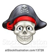 Vector Illustration of Pirate Skull Wearing a Hat by AtStockIllustration