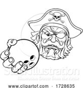 Vector Illustration of Pirate Ten Pin Bowling Ball Sports Mascot by AtStockIllustration