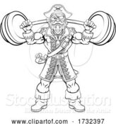 Vector Illustration of Pirate Weight Lifting Barbell Mascot by AtStockIllustration