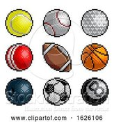 Vector Illustration of Pixel Art 8 Bit Video Arcade Game Sport Ball Icons by AtStockIllustration