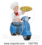 Vector Illustration of Pizza Delivery Chef Scooter Moped Guy by AtStockIllustration