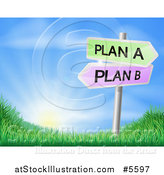 Vector Illustration of Plan a or Plan B Decision Signs over a Sunrise by AtStockIllustration