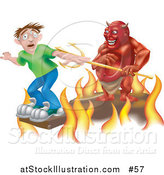 Vector Illustration of Plank Above the Fires of Hell, a Devil Holding a Pitchfork Behind Him by AtStockIllustration