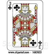 Vector Illustration of Playing Card Jack of Clubs Red Yellow and Black by AtStockIllustration