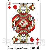 Vector Illustration of Playing Card Jack of Diamonds Red Yellow and Black by AtStockIllustration
