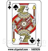 Vector Illustration of Playing Card Jack of Spades Red Yellow and Black by AtStockIllustration