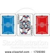 Vector Illustration of Playing Card Joker and Back Red Blue and Black by AtStockIllustration