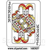 Vector Illustration of Playing Card Joker Red Yellow and Black by AtStockIllustration