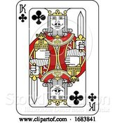 Vector Illustration of Playing Card King of Clubs Red Yellow and Black by AtStockIllustration