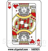 Vector Illustration of Playing Card King of Hearts Red Yellow and Black by AtStockIllustration