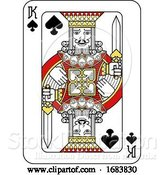 Vector Illustration of Playing Card King of Spades Red Yellow and Black by AtStockIllustration