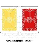Vector Illustration of Playing Card Reverse Back in Yellow and Red by AtStockIllustration