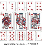 Vector Illustration of Playing Cards Diamonds Red Blue and Black by AtStockIllustration