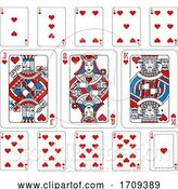Vector Illustration of Playing Cards Hearts Red Blue and Black by AtStockIllustration