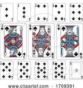 Vector Illustration of Playing Cards Spades Red Blue and Black by AtStockIllustration