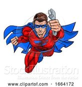Vector Illustration of Plumber Mechanic Superhero Holding Wrench Spanner by AtStockIllustration
