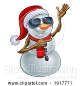 Vector Illustration of Pointing Snowman Wearing a Santa Hat and Sunglasses by AtStockIllustration