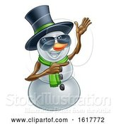 Vector Illustration of Pointing Snowman Wearing a Top Hat and Sunglasses by AtStockIllustration