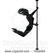 Vector Illustration of Pole Dancer Lady Silhouette by AtStockIllustration
