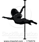 Vector Illustration of Pole Dancing Lady Silhouette by AtStockIllustration