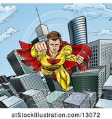 Vector Illustration of Pop Art Comic Male Super Hero Flying Forward over a City by AtStockIllustration