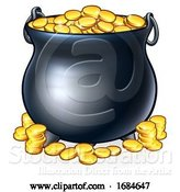 Vector Illustration of Pot of Gold Coins at End of the Rainbow by AtStockIllustration
