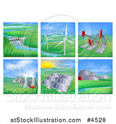 Vector Illustration of Power and Energy Generation Plants and Landscapes by AtStockIllustration