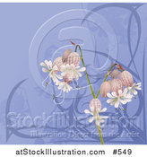 Vector Illustration of Pretty Bell Flowers over Blue by AtStockIllustration
