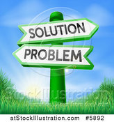 Vector Illustration of Problem and Solution Arrow Directional Signs over Sunrise by AtStockIllustration