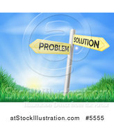 Vector Illustration of Problem and Solution Directional Signs over Sunrise by AtStockIllustration