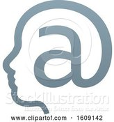 Vector Illustration of Profiled Face in an Email Arobase at Symbol by AtStockIllustration