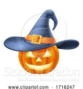 Vector Illustration of Pumpkin Wearing Witch Hat Halloween by AtStockIllustration