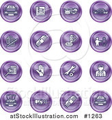 Vector Illustration of Purple Icons: Cars, a Log, Cash, Lemon, Dealer, Ads, Key, Wrench, Engine, Handshake and Money by AtStockIllustration