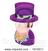 Vector Illustration of Purple Suit Guy Avatar People Icon by AtStockIllustration