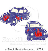 Vector Illustration of Purple VW Bug Cars with Flames by AtStockIllustration