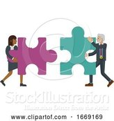 Vector Illustration of Puzzle Piece Jigsaw Characters Business Concept by AtStockIllustration