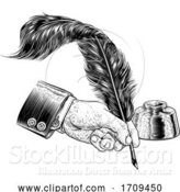 Vector Illustration of Quill Feather Ink Pen Hand Suit Vintage Woodcut by AtStockIllustration