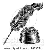 Vector Illustration of Quill Feather Pen and Ink Well by AtStockIllustration