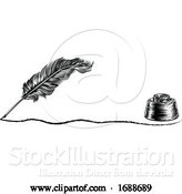 Vector Illustration of Quill Pen Feather and Inkwell Concept by AtStockIllustration