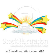Vector Illustration of Rainbows Bursting from a Sun Behind a Cloud by AtStockIllustration