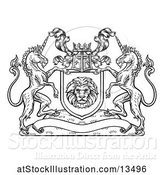 Vector Illustration of Rampant Lion and Unicorn Flanking a Lion Shield over a Banner, Black and White Woodcut by AtStockIllustration
