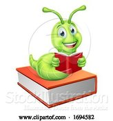 Vector Illustration of Reading Bookworm Worm Caterpillar on Book by AtStockIllustration