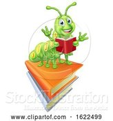 Vector Illustration of Reading Caterpillar Worm Bookworm on Books by AtStockIllustration