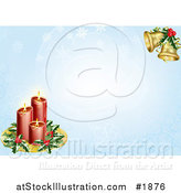 Vector Illustration of Red Candles with Christmas Holly and Bells over a Blue Snowflake Background by AtStockIllustration