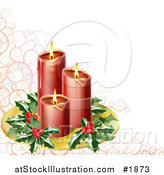 Vector Illustration of Red Candles with Christmas Holly on a Tray over a Pink Swirl and White Background by AtStockIllustration