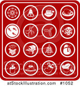 Vector Illustration of Red Christmas Icons Including a Snowflake, Bell, Santa, Turkey Dinner, Footprints in Snow, Holly, Mistletoe, Elf, Chimney, Presents, Christmas Tree, Snowman, Candle, Dessert, Stocking and Santa Hat by AtStockIllustration