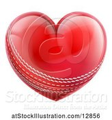 Vector Illustration of Red Heart Shaped Cricket Ball by AtStockIllustration